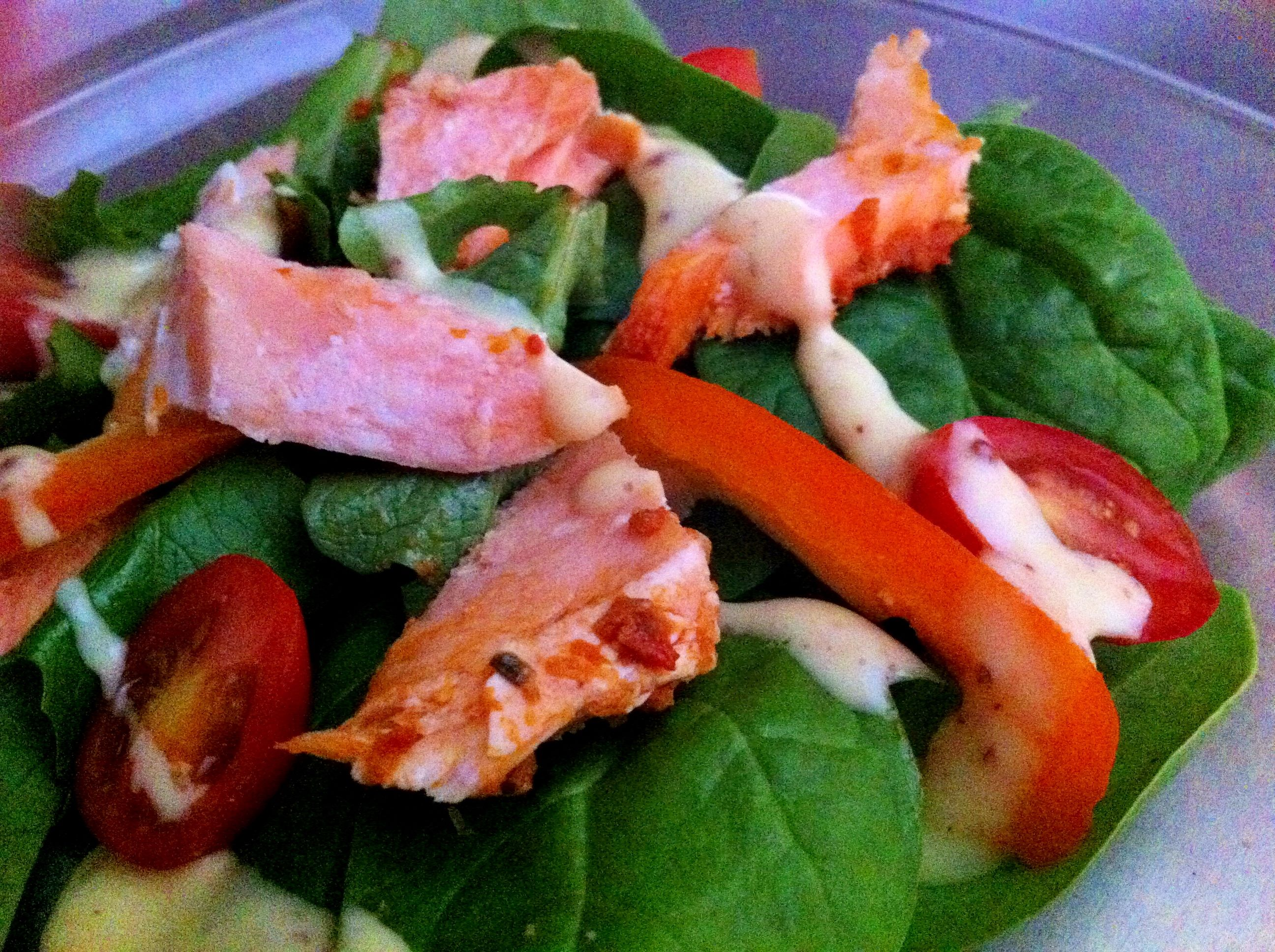 Salmon Salad with Honey Yogurt Dressing