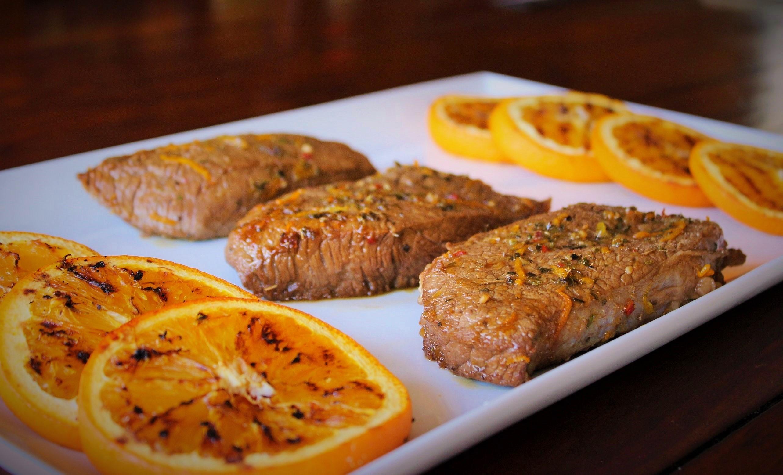 Citrus Steak with Grilled Oranges