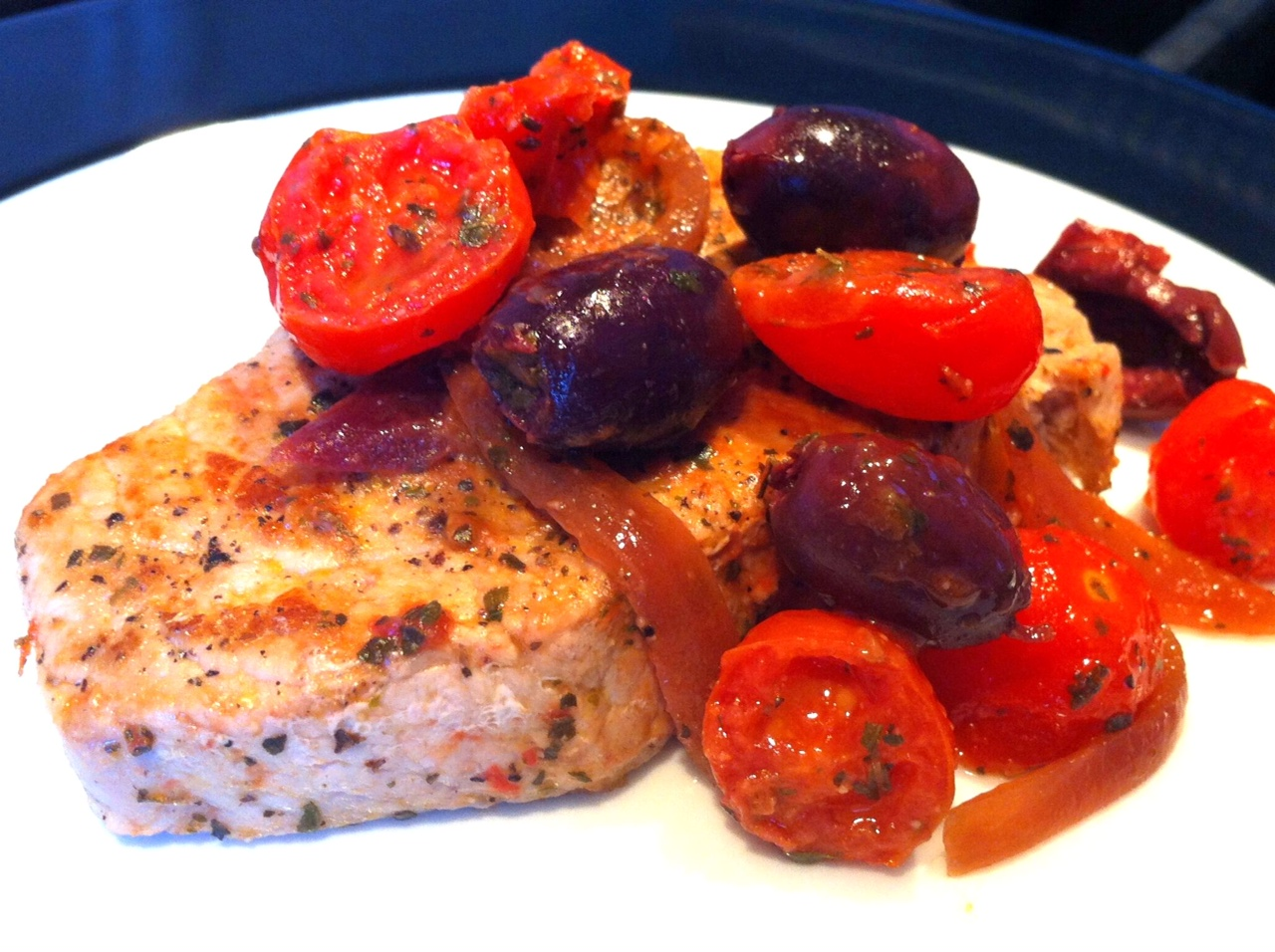 Greek Style Pork with Olives and Cherry Tomatoes