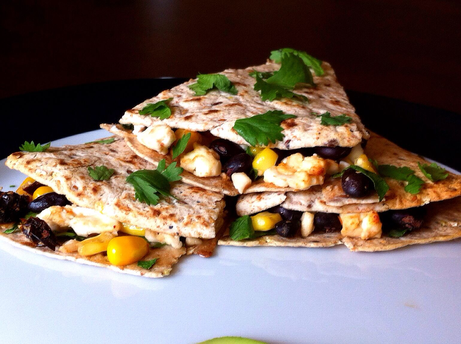 Quesadillas with Corn, Black Beans & Feta Cheese