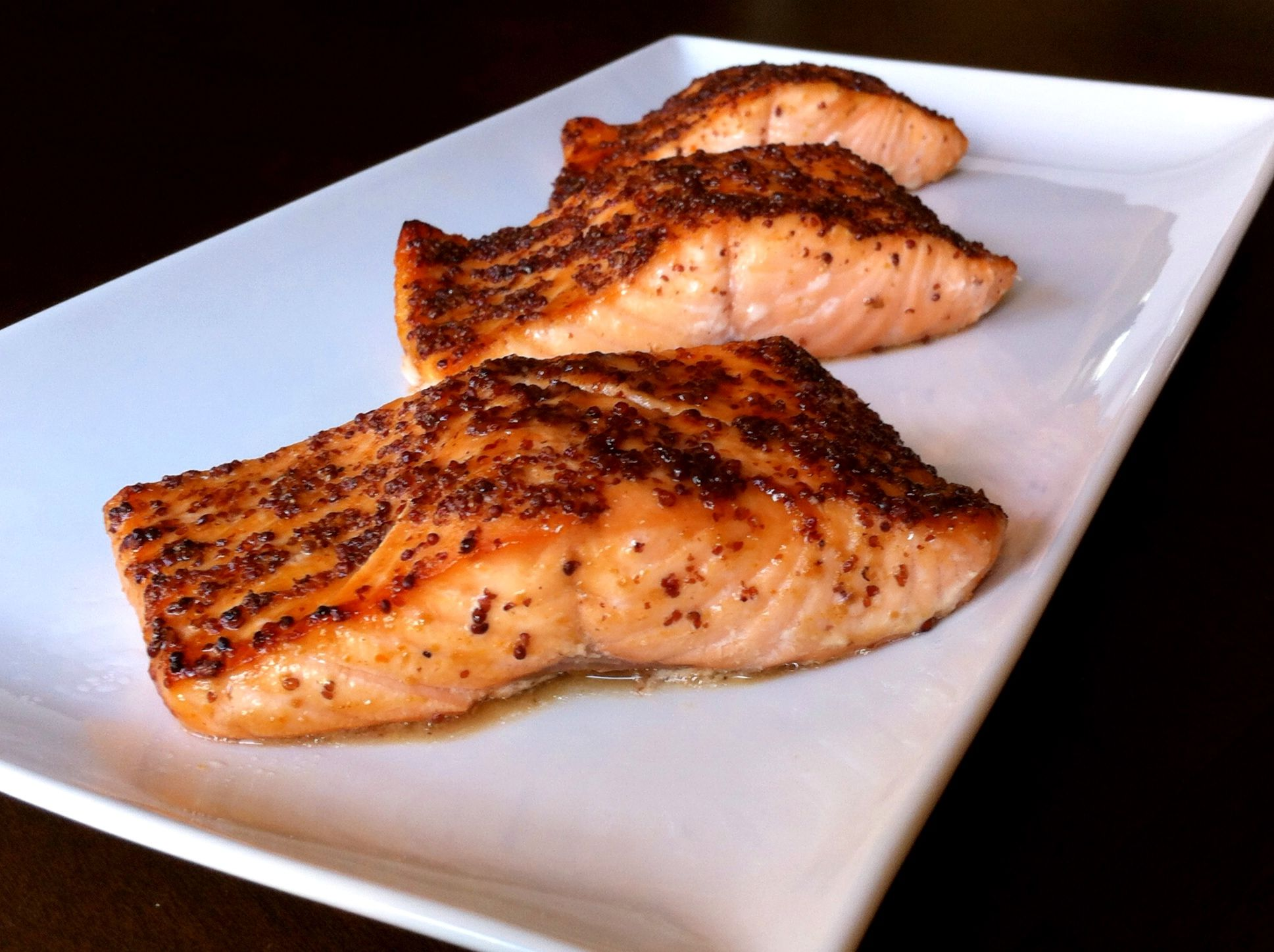 Broiled Salmon with Maple-Mustard Glaze