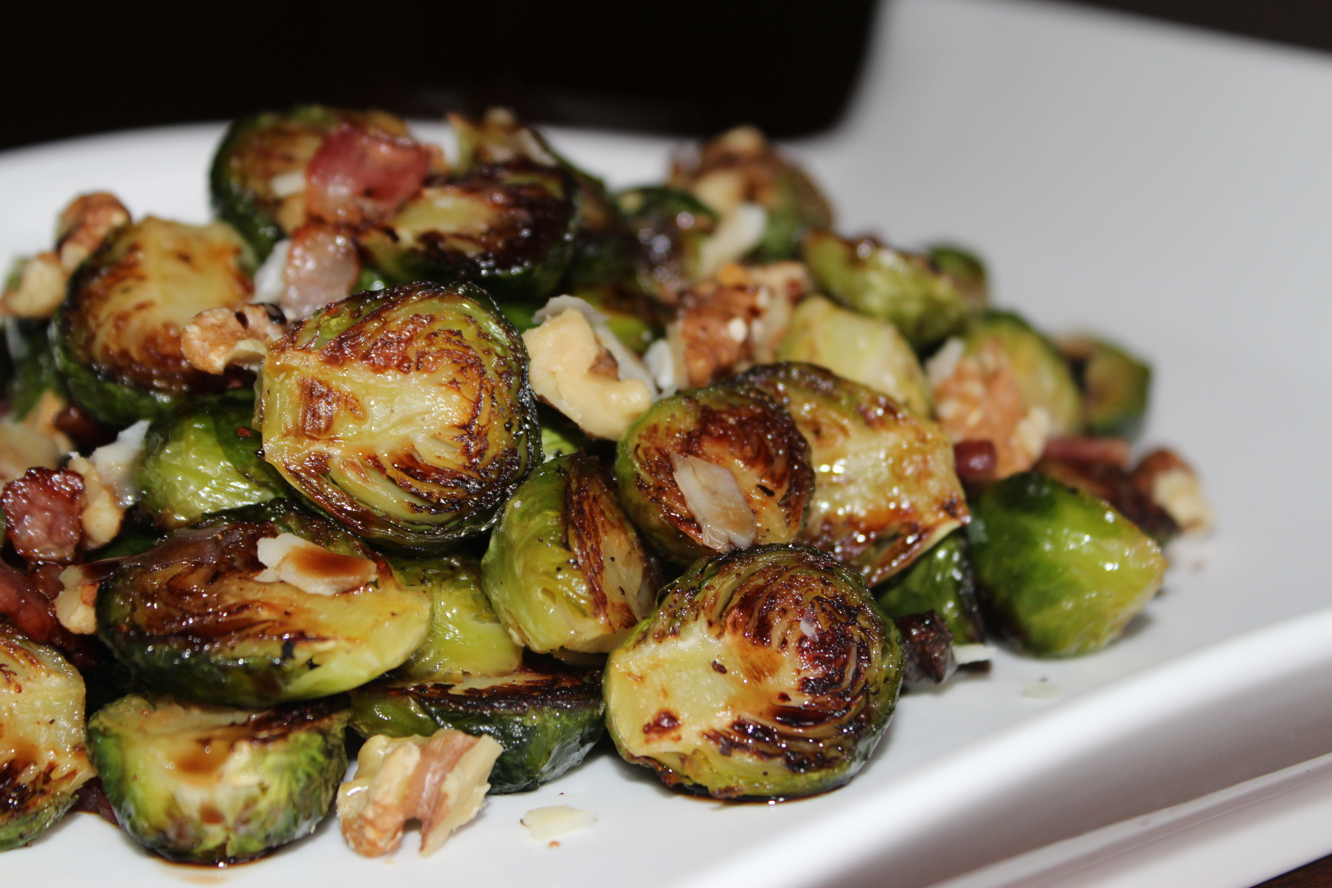 Roasted Brussels Sprouts with Bacon and Walnuts - Easy Peasy Eats
