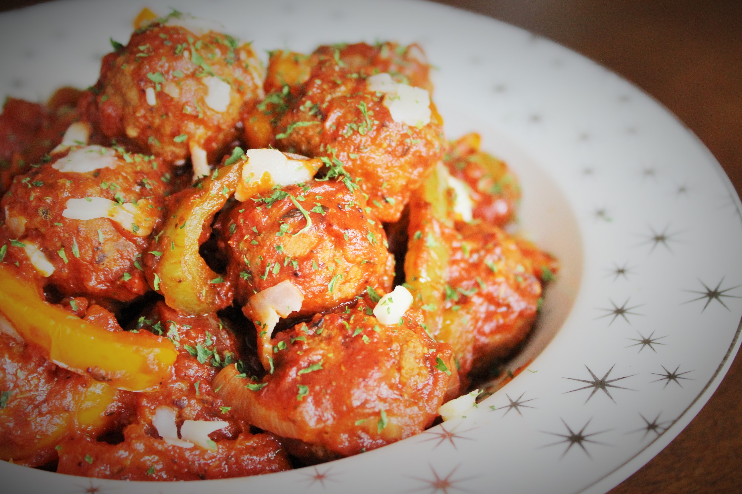 Italian Style Meatballs with Peppers and Onions