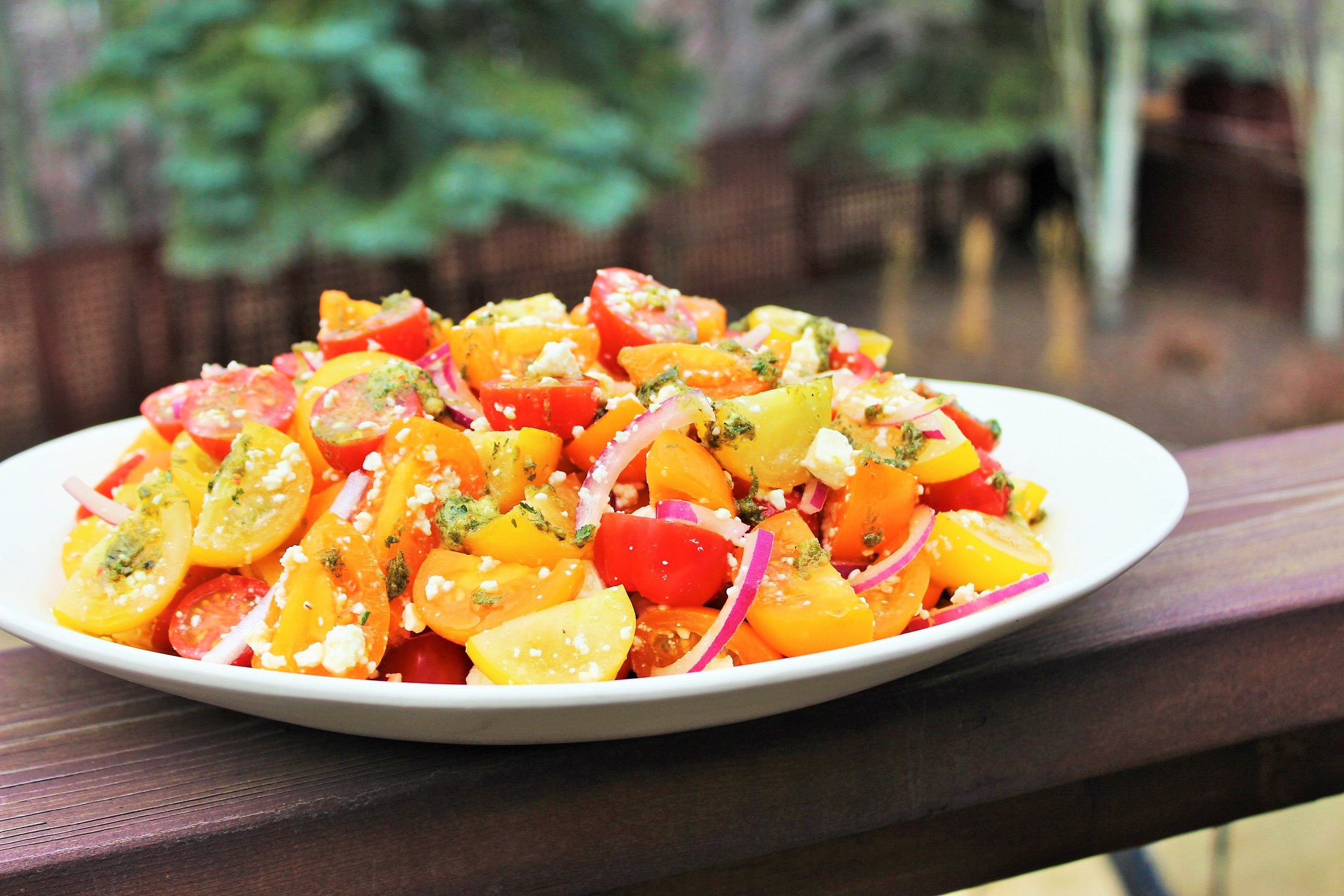 Mixed Tomato Salad with Basil Vinaigrette