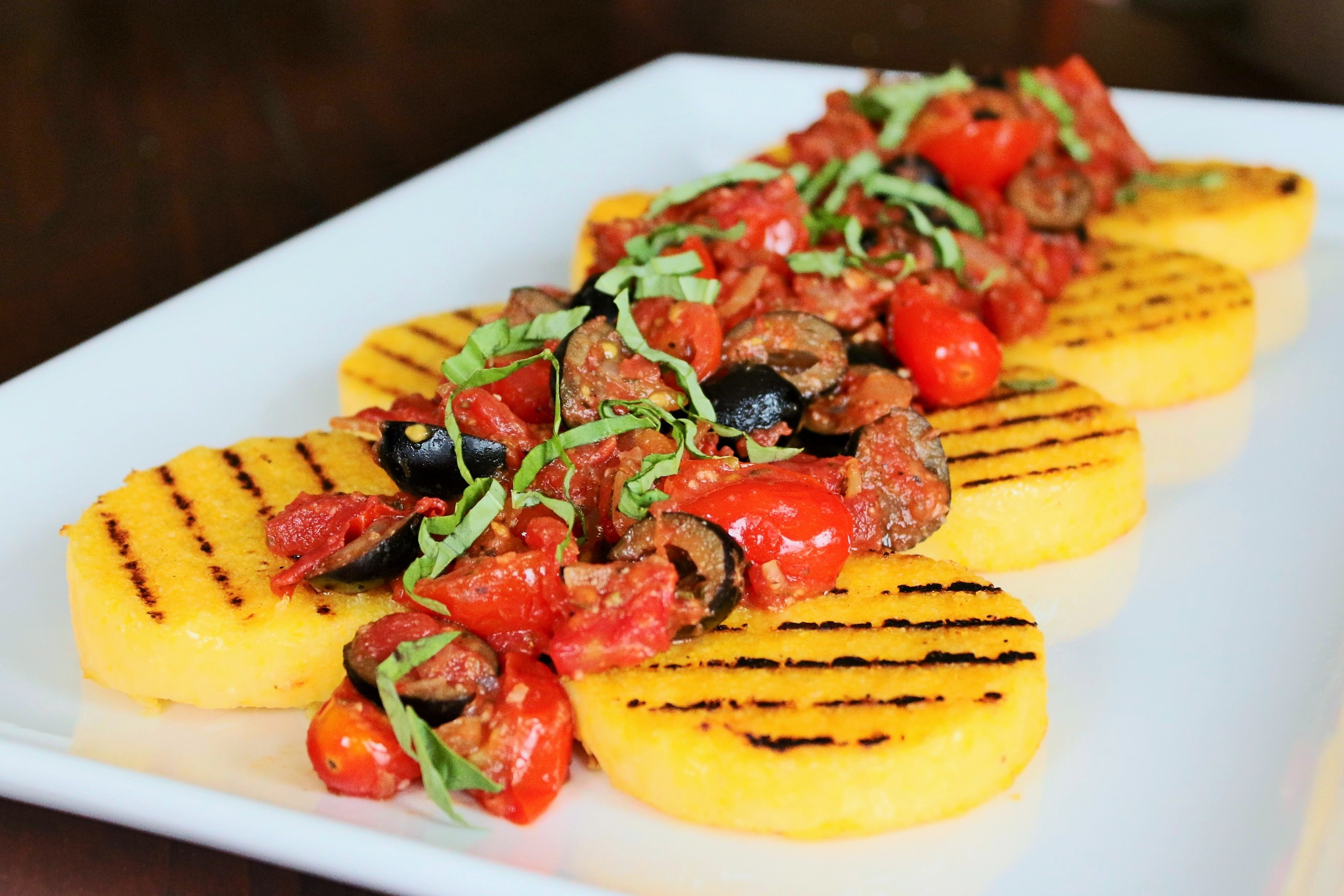 Grilled Polenta with Tomatoes & Olives - Easy Peasy Eats