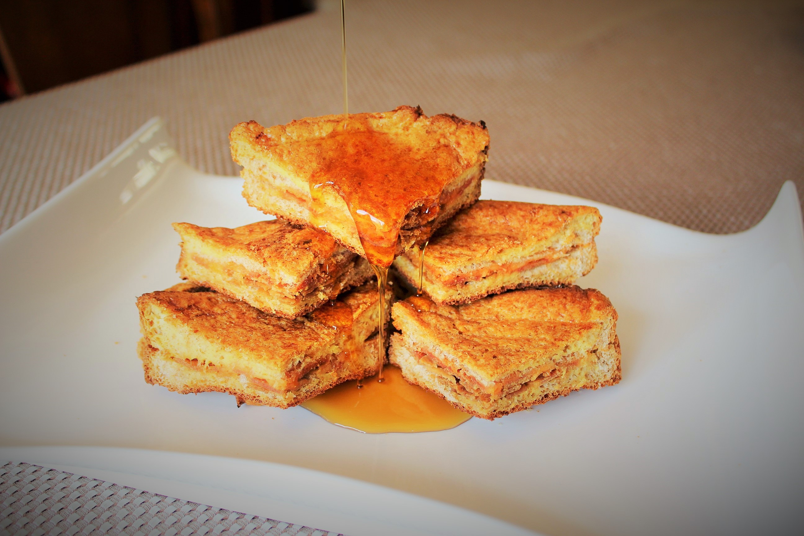Stuffed French Toast with Bacon & Cheese