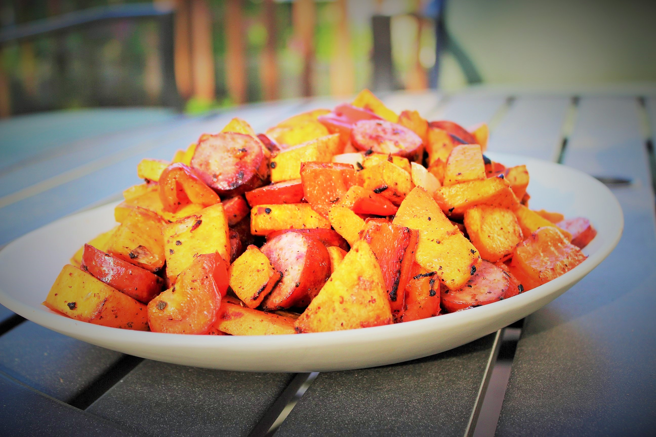 Sweet Potato Hash with Sausage and Peppers