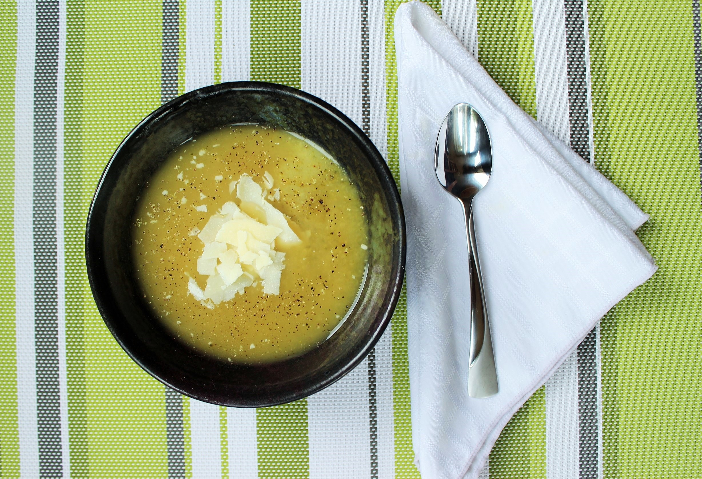 Broccoli Soup with Shaved Parmesan Cheese