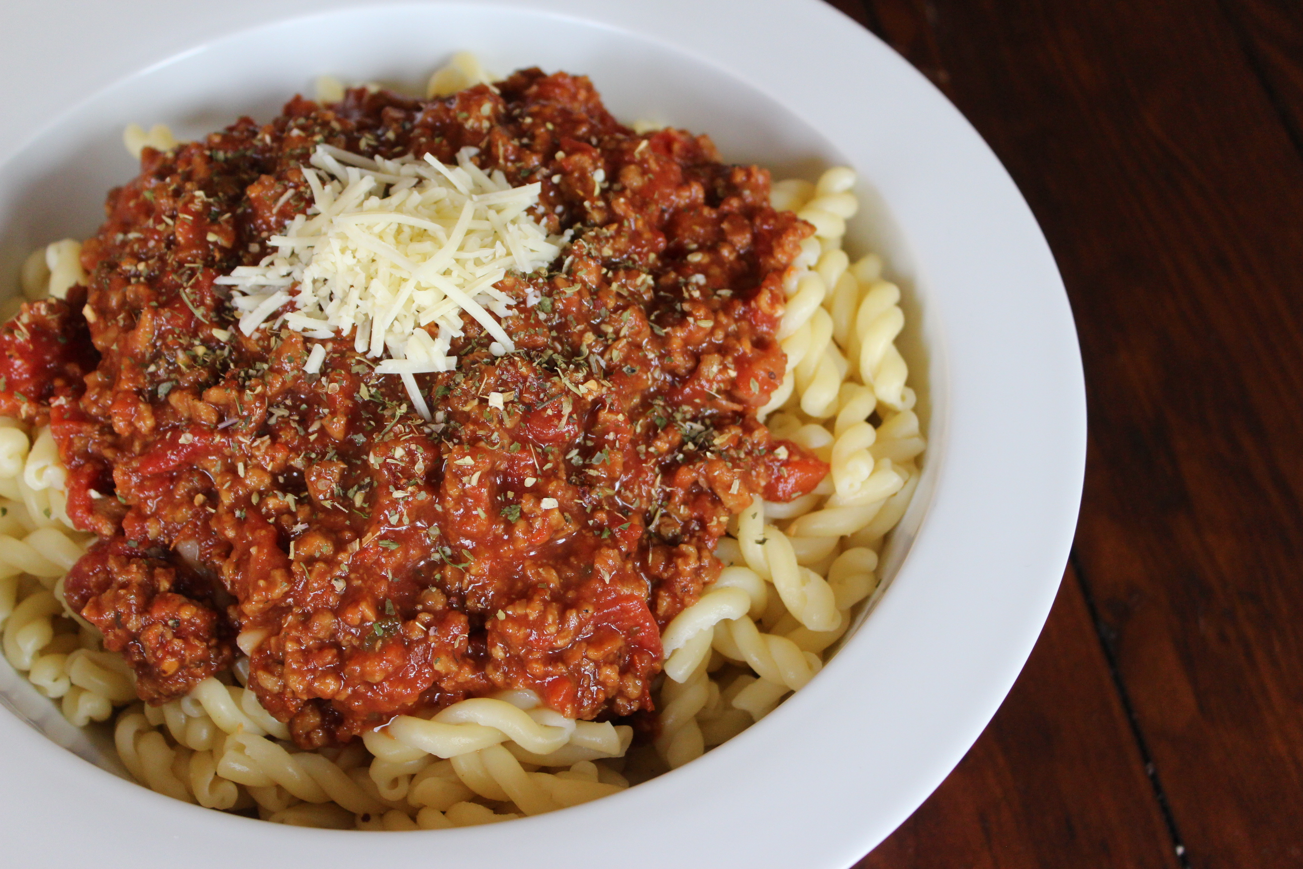 Fusilli with Spicy Meat Sauce