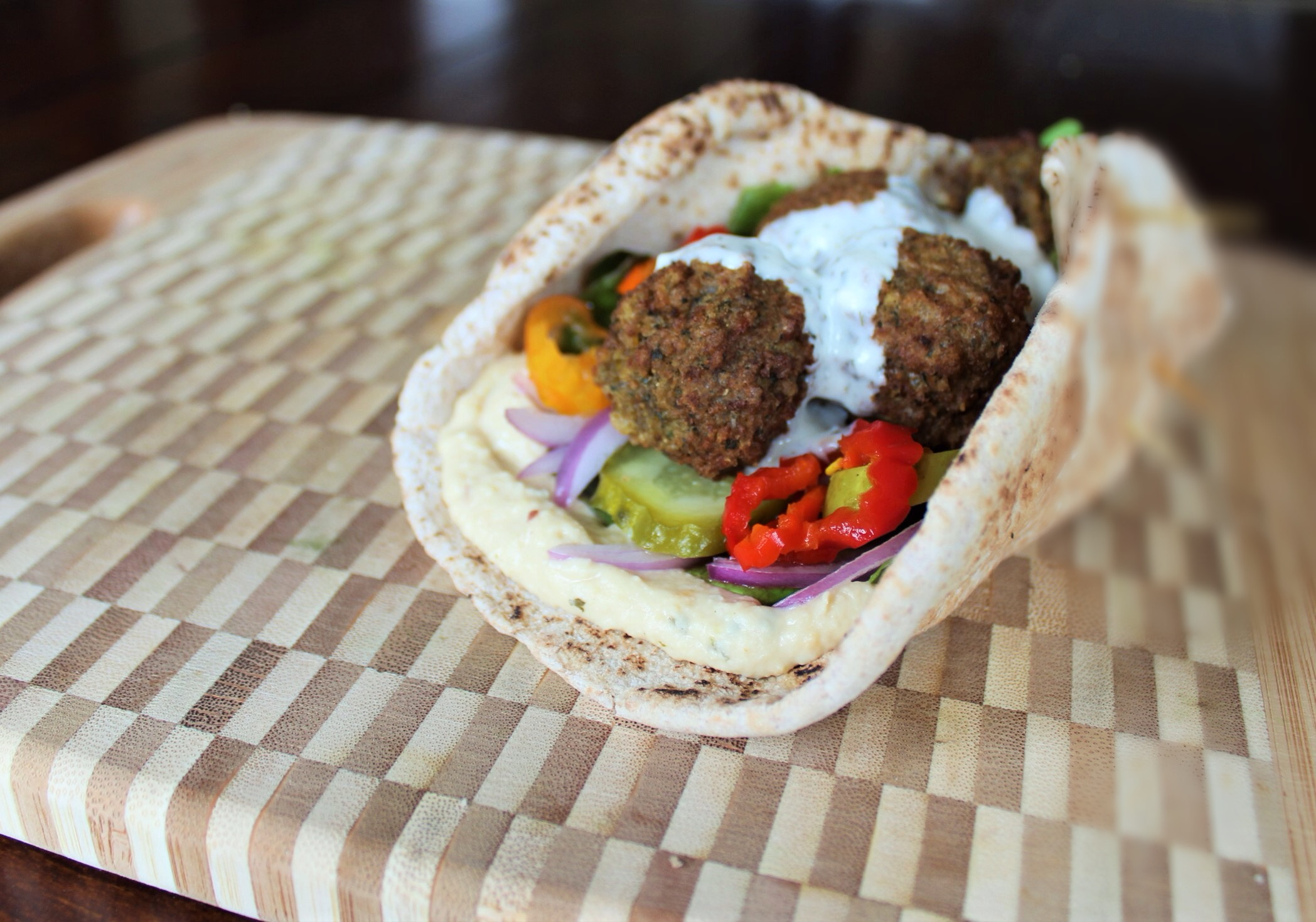 Pita With Falafel Fresh Tzatziki Easy Peasy Eats