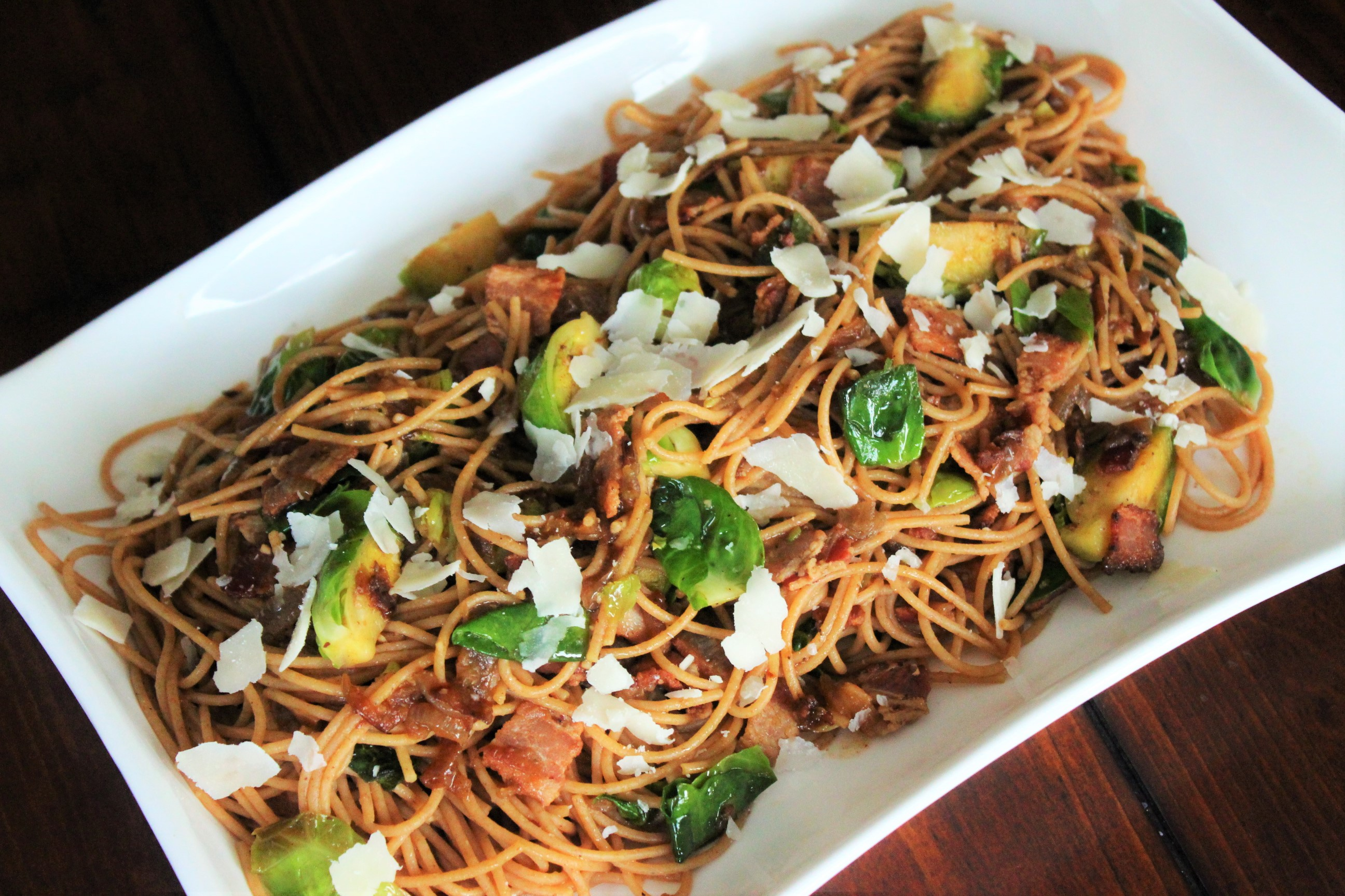 Spaghetti Carbonara with Brussels Sprouts