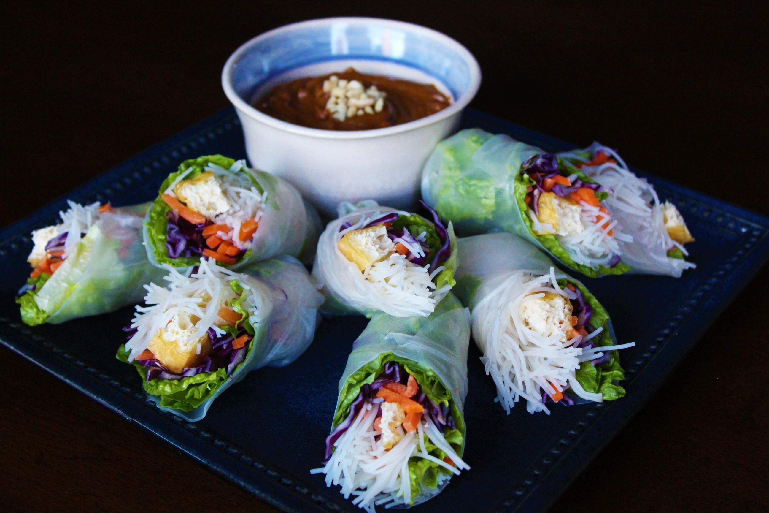 Salad Rolls with Peanut Sauce