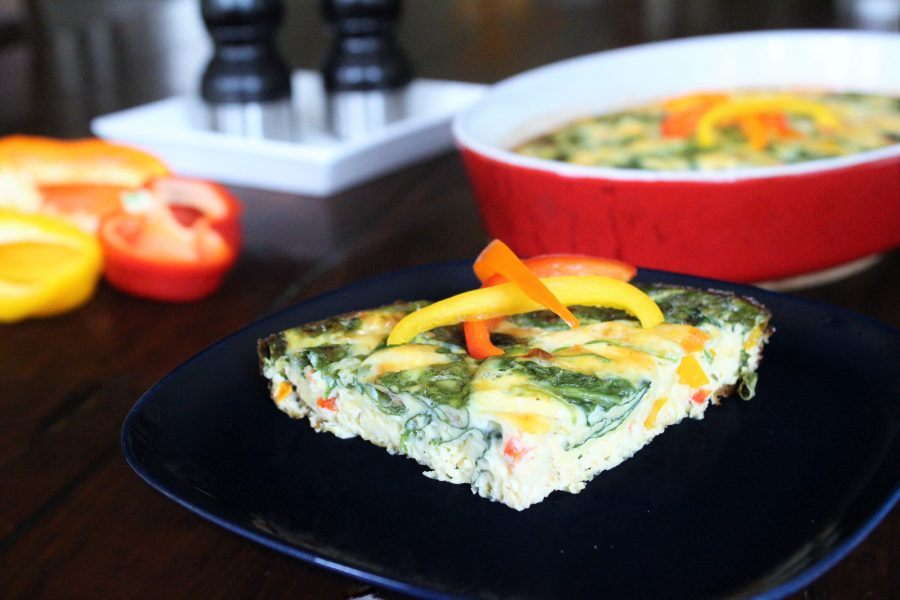 Vegetarian Frittata with Peppers & Spinach