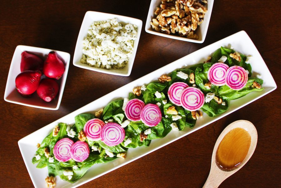 Candy Cane Beet Salad with Blue Cheese & Walnuts
