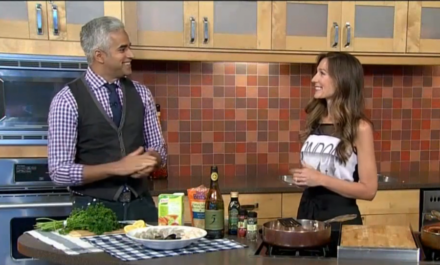 Whipping up Seafood Paella for City TV Vancouver