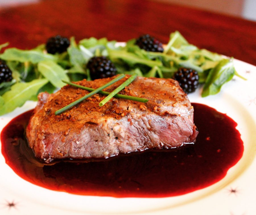 Grilled Steak with Blackberry Reduction
