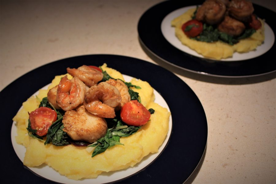 Seared Seafood on Cheesy Polenta with Brown Butter Sauce