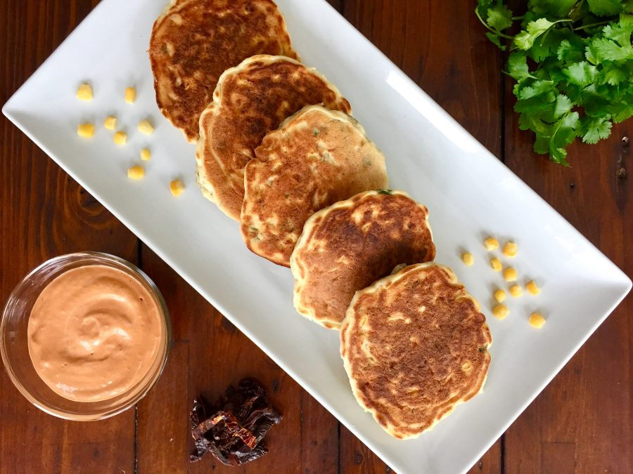 Sweet Corn Pancakes with Sun-Dried Tomato Aioli