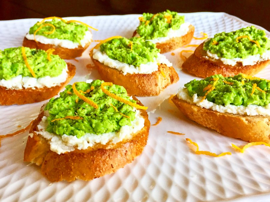 Sweet Pea & Mint Crostini