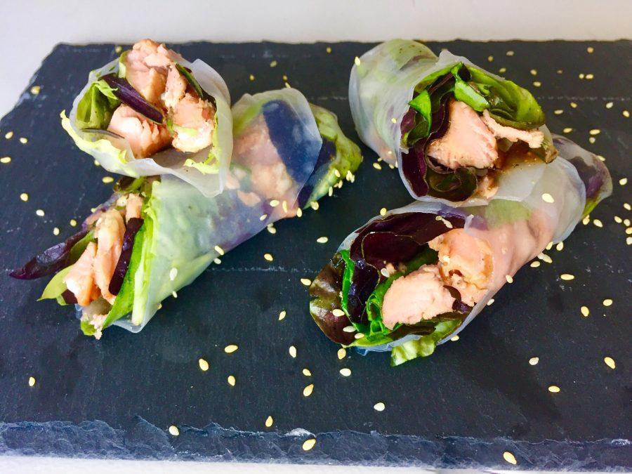 Sesame Salmon Salad Rolls