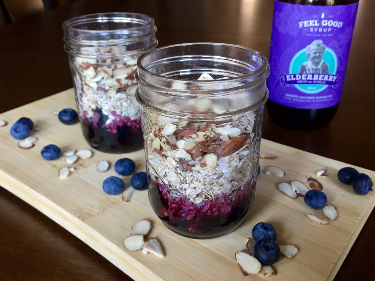 Overnight Oats with Blueberries, Almonds & Elderberry Syrup